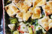 Chicken and leek patchwork pie