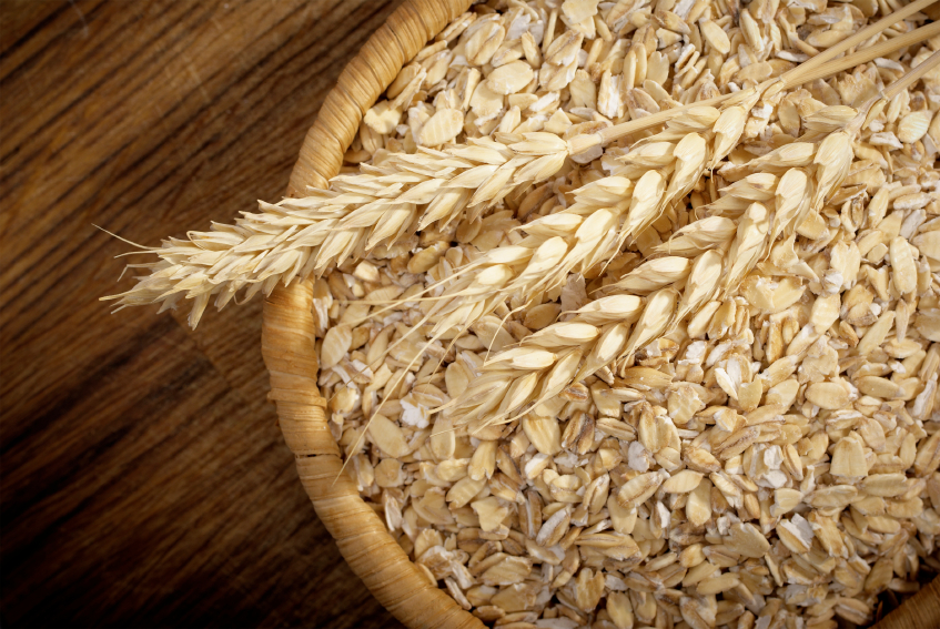 Healthy food. Whole grain Oats and cereal spikelets