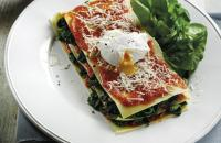 Open lasagne with spinach