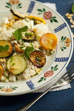 Rice salad with roasted courgette, pine nuts