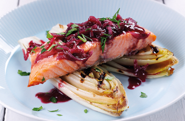 Salmon with Raspberry Glaze