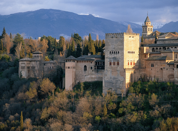 The Alhambra Palace in Granada, Spain, has Moorish architecture