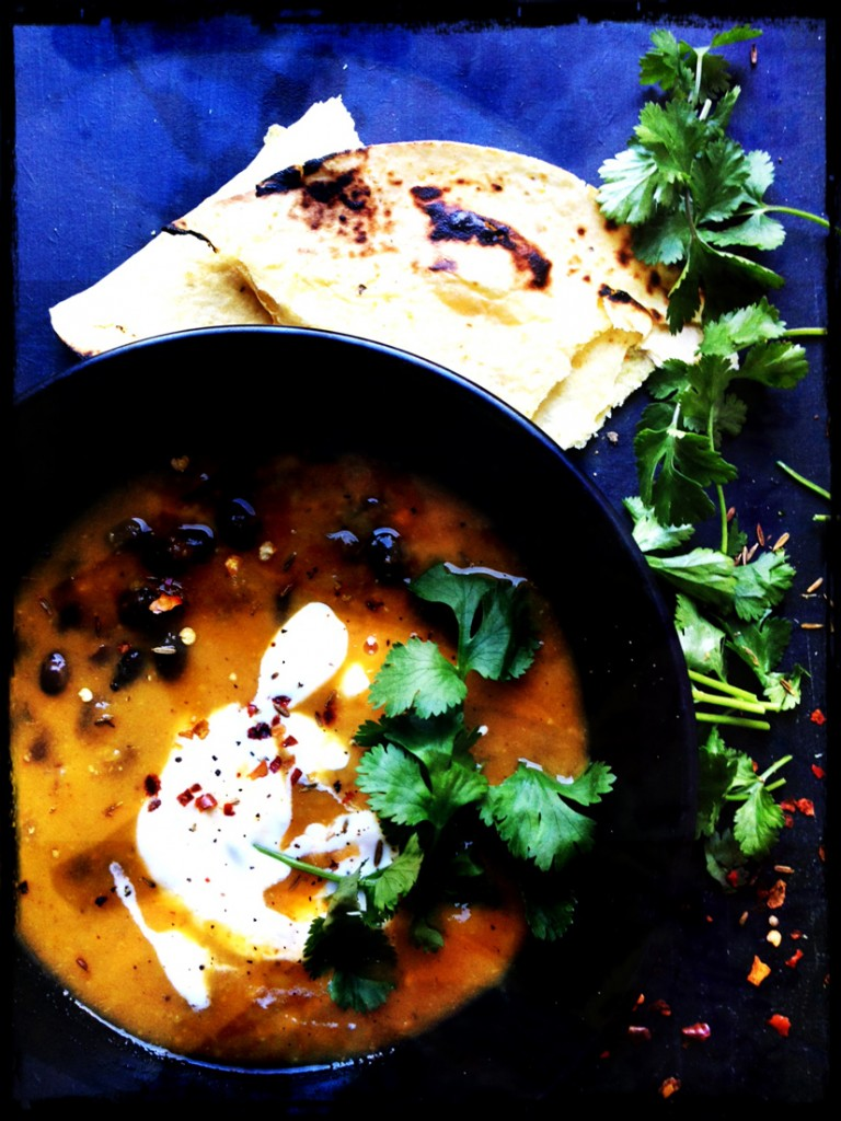 Mexican sweet potato and bean soup