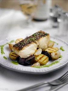 BBQ Fillet of Hake with Caramelised Shallots, Roast Beets and a Garden Pea Dressing